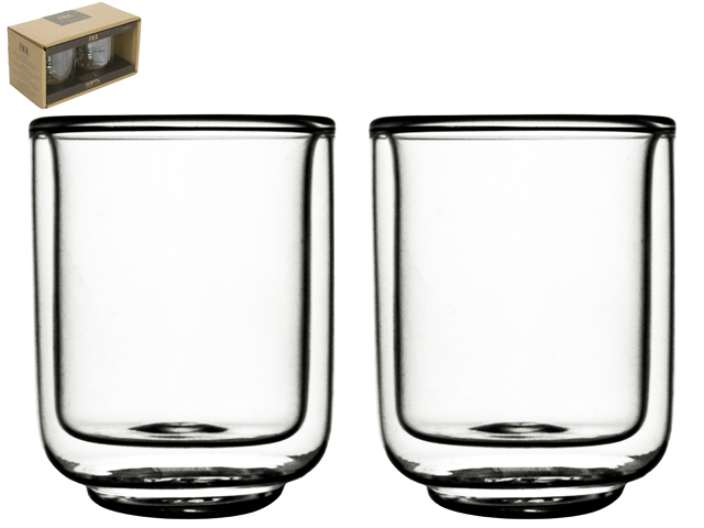 Double Wall Glass Fika 60ml S/2 Sparkle Gift