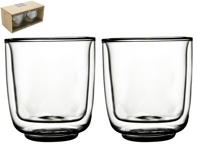 Double Wall Glass Fika 250ml S/2 Sparkle Gift