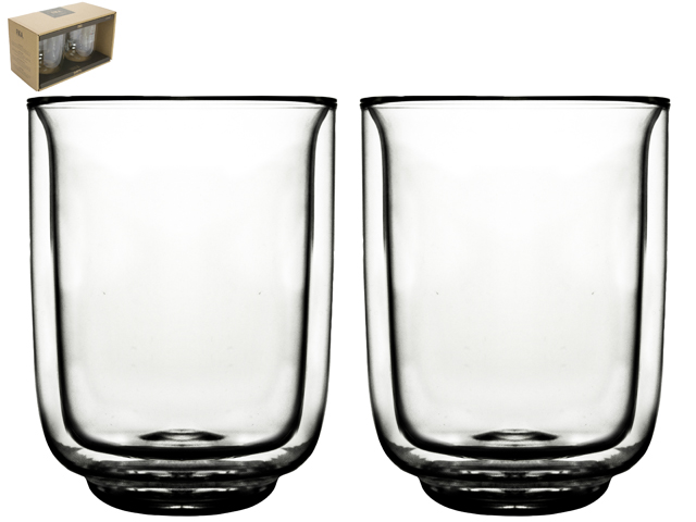 Double Wall Glass Fika 325ml S/2 Sparkle Gift