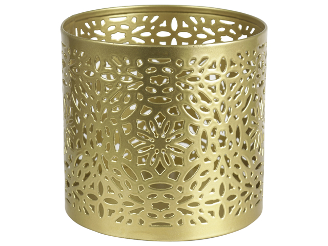 Tealight Holder Circle 9.5cm Gold Sparkle Gift