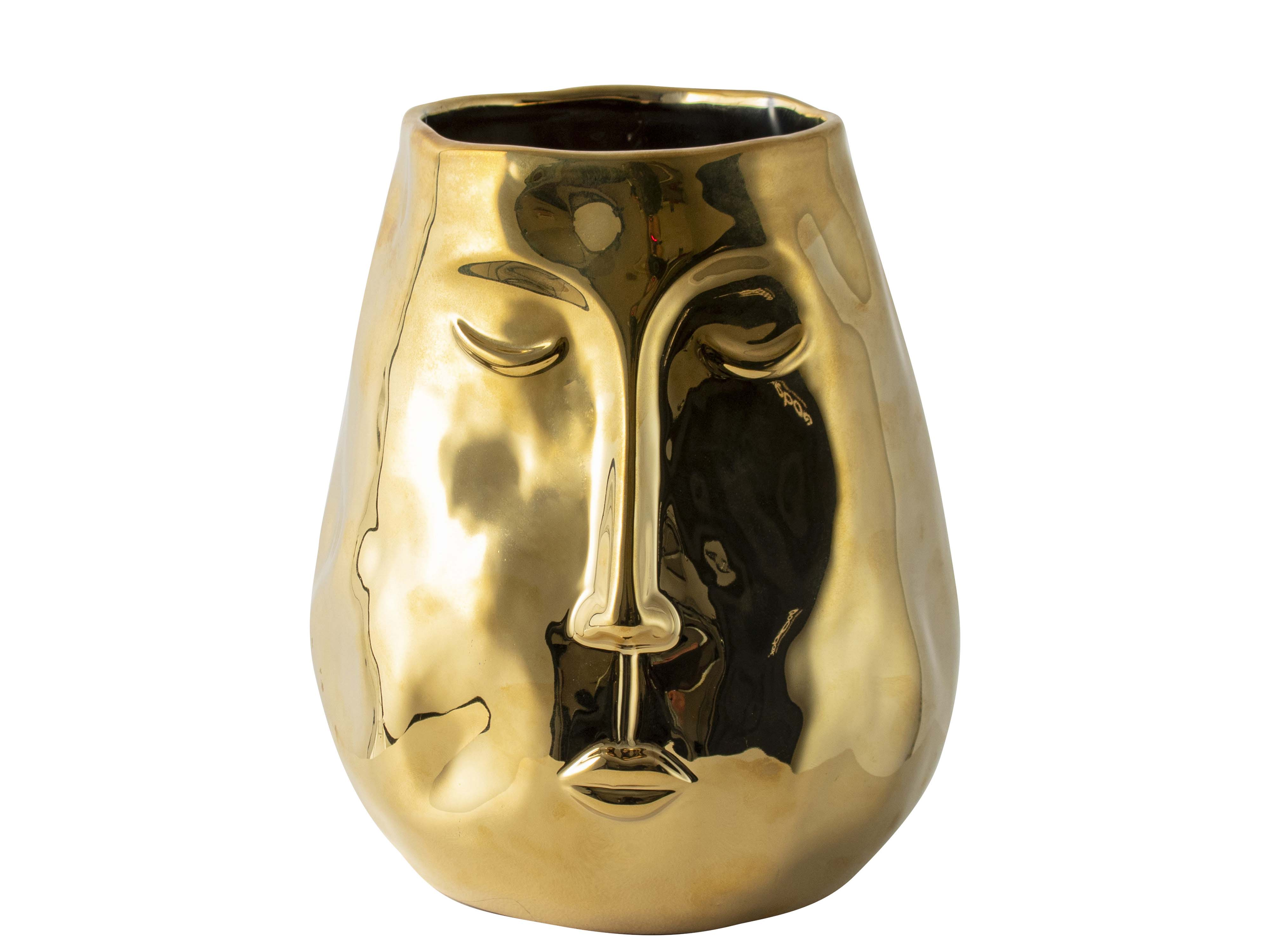 Golden Vase With Face H19.5cm Sparkle Gift