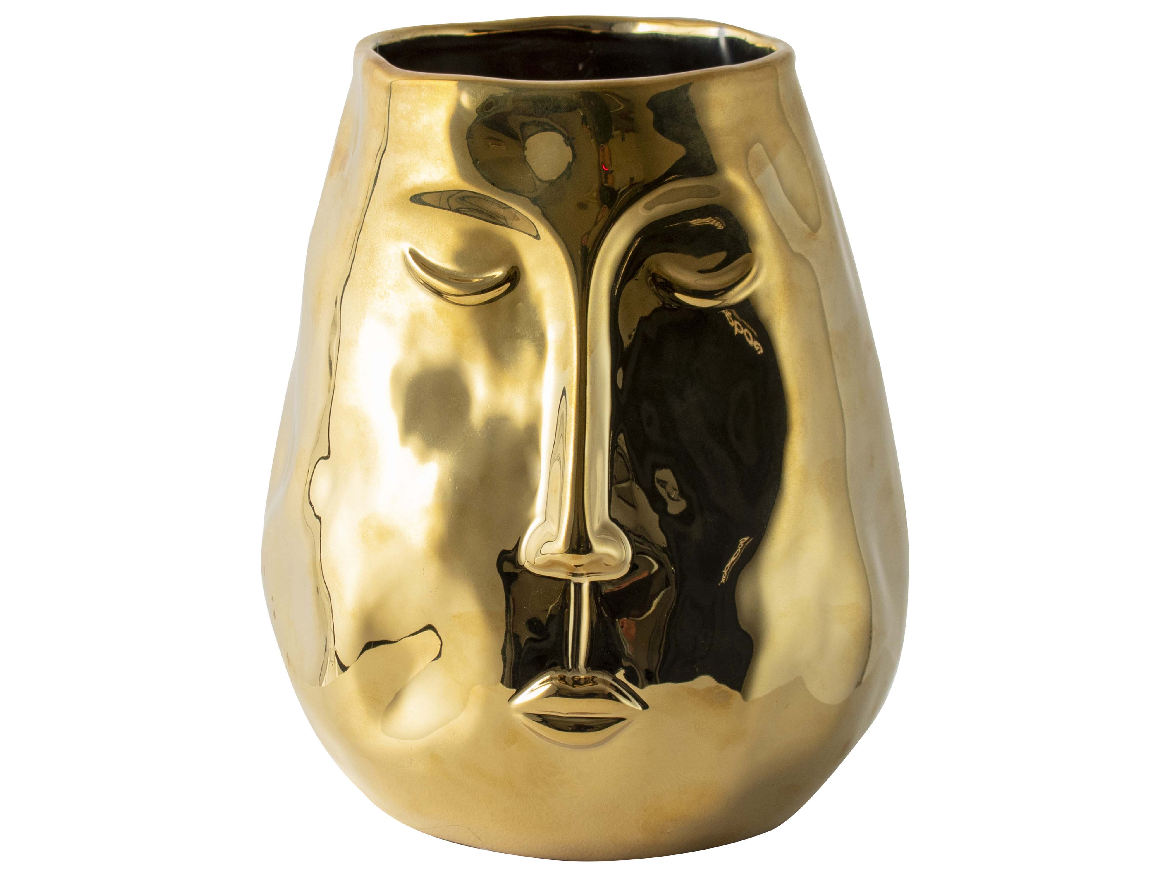 Golden Vase With Face H24.5cm Sparkle Gift