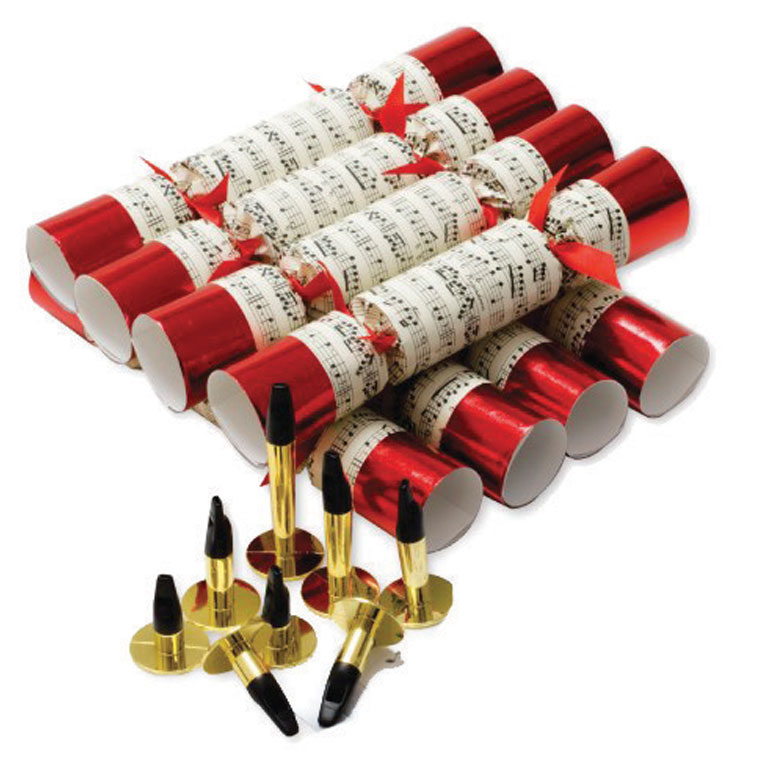 Christmas Crackers (8) Concerto Red 25cm Sparkle Gift