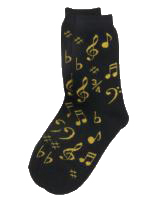 Socks Womens Notes Black Gold Sparkle Gift