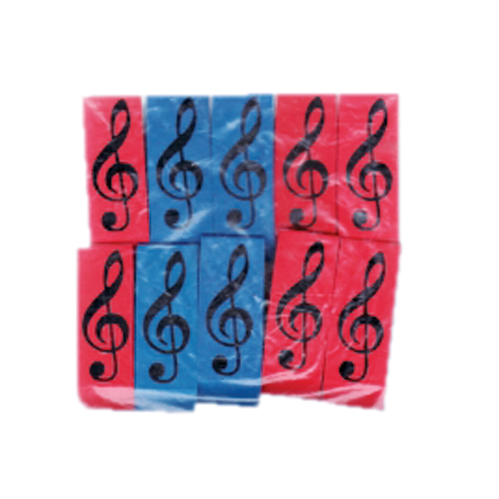 Wedge Eraser Treble Clef Pack of 10 Erasers Sparkle Gift
