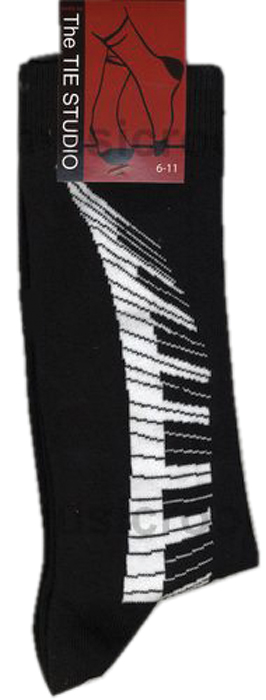 Socks Tie Studio Keyboard Swirl Black Size 6-11 Sparkle Gift