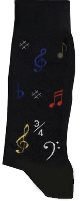 Socks Tie Studio Musical Symbol Black Size 6-11 Sparkle Gift