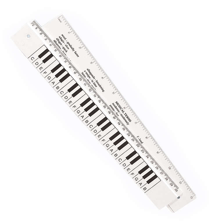 Keyboard Ruler 30cm Double Sided White Sparkle Gift