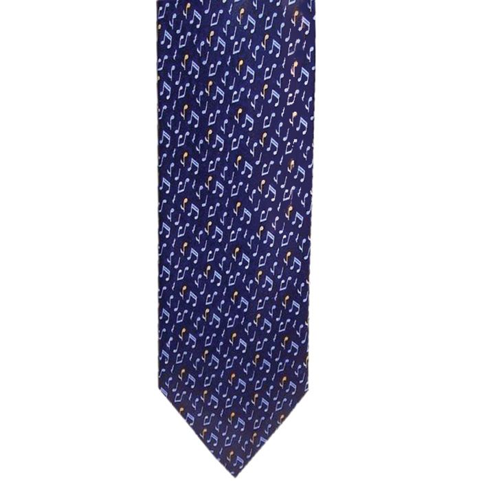 Tie Blue With Blue/yellow Notes Silk Sparkle Gift
