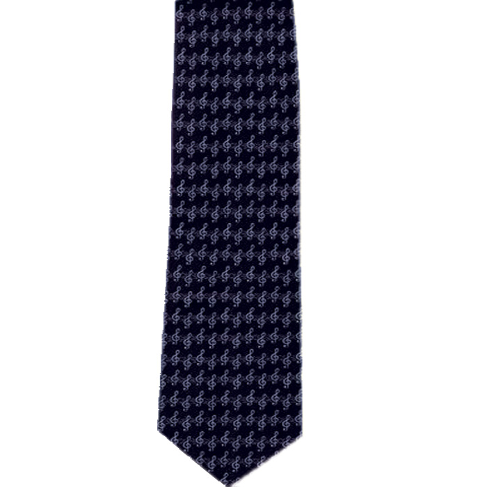 Tie Silver Clef On Navy Silk Sparkle Gift