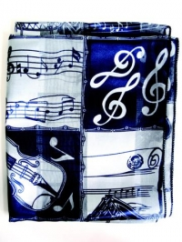 Scarf Music Square Pattern Blue Long Sparkle Gift