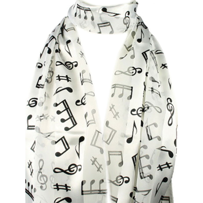 Scarf White Music Long                                      Sparkle Gift