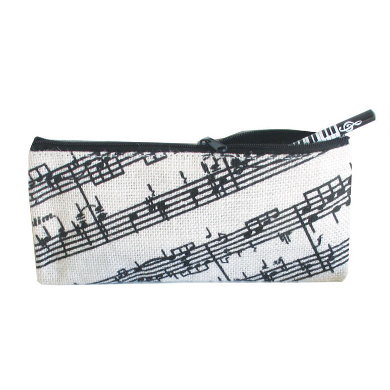 Jute Pencil Case Music Staves Design Sparkle Gift