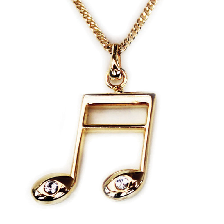 Pendant With Rhinestones Semiquaver Gold-plated Sparkle Gift