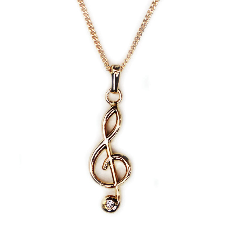 Pendant With Rhinestones Treble Clef Gold-plated Sparkle Gift