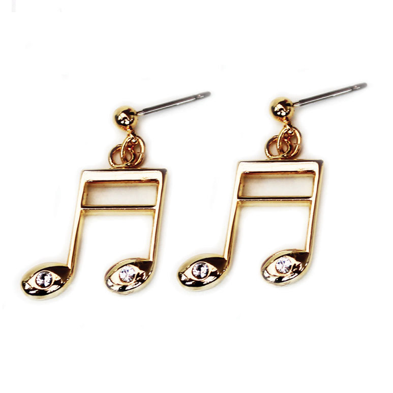 Earrings With Rhinestones Semiquaver Gold-plated Sparkle Gift