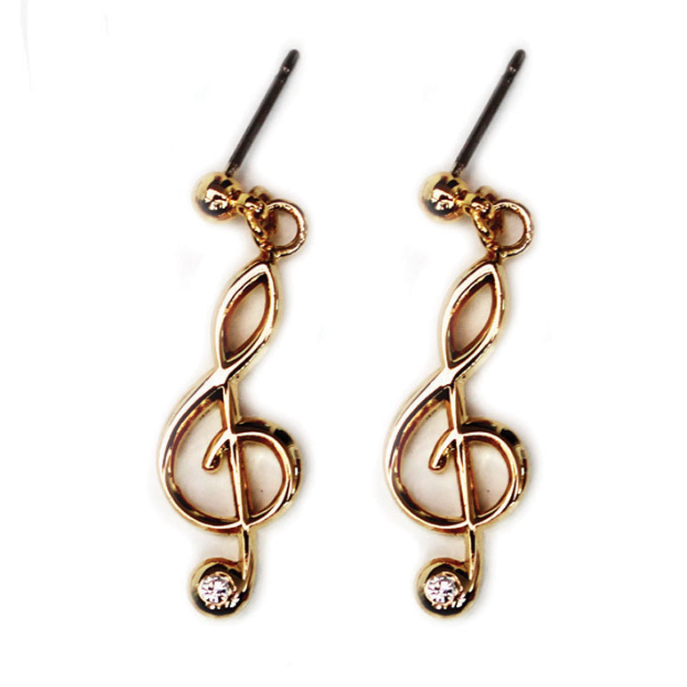Earrings With Rhinestones Treble Clef Gold-plated Sparkle Gift