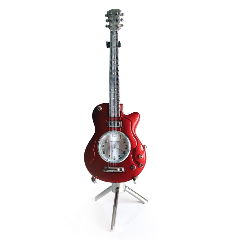 Miniature Clock Electric Guitar (red) Sparkle Gift