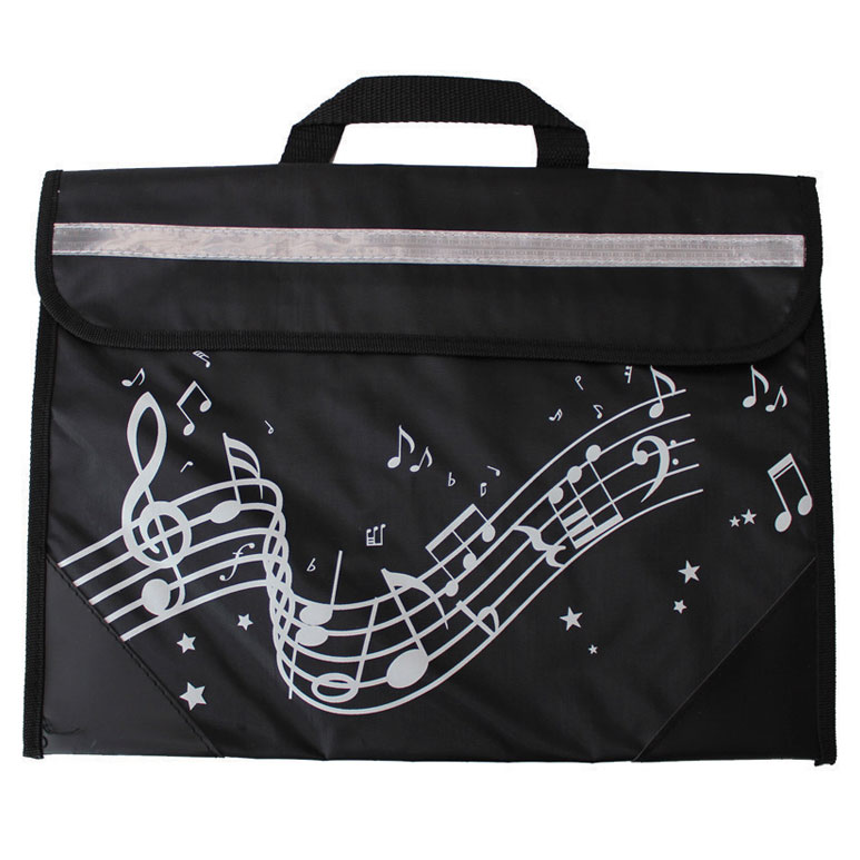 School Bag Wavy Stave Design Black Sparkle Gift