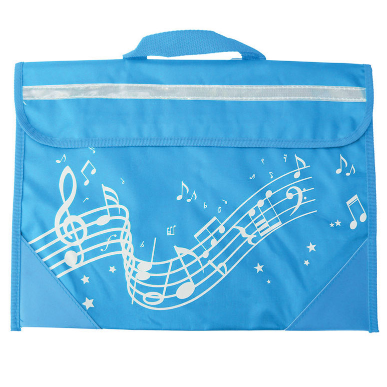 School Bag Wavy Stave Design Light Blue Sparkle Gift