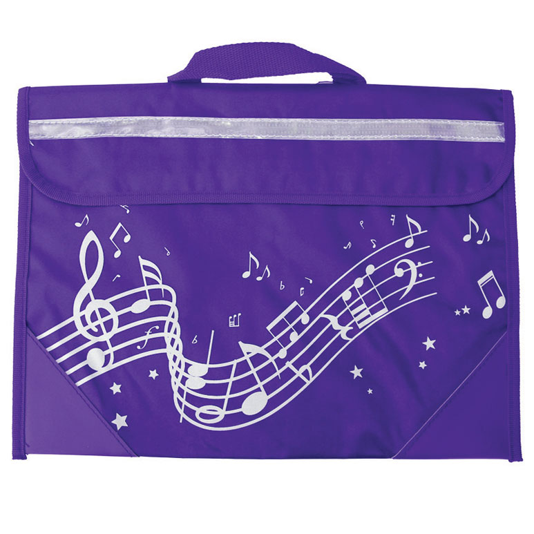 School Bag Wavy Stave Design Purple Sparkle Gift