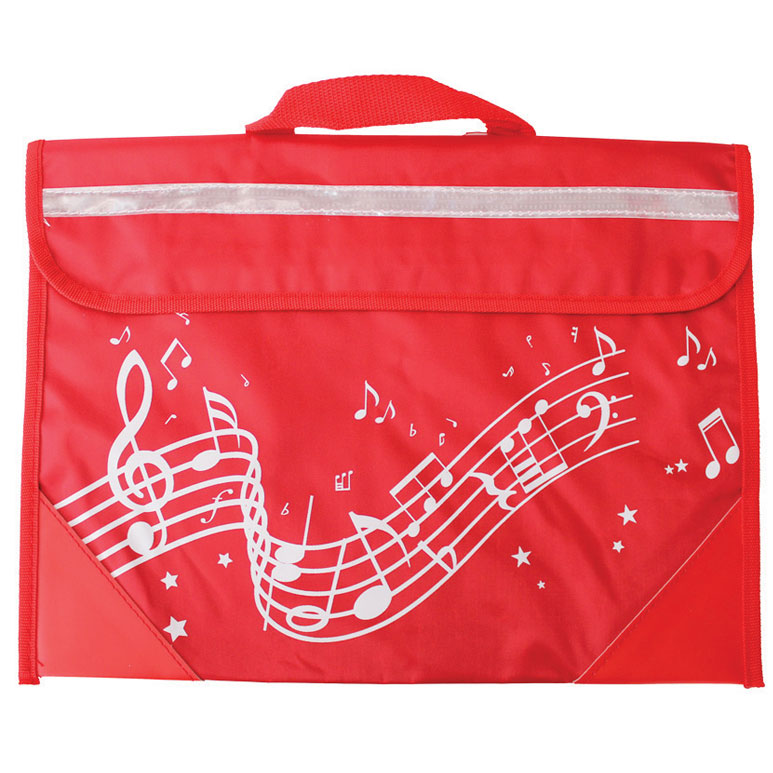 School Bag Wavy Stave Design Red Sparkle Gift