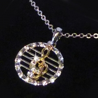 Necklace Dangling Treble Clef Design With Crystals Sparkle Gift