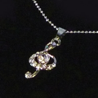 Necklace Treble Clef Design With Crystals Sparkle Gift