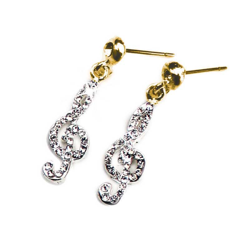 Earrings Golden Treble Clef Design With Crystals Sparkle Gift
