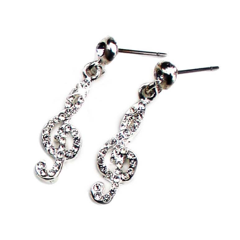 Earrings Treble Clef Design With Crystal Sparkle Gift