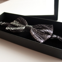 Bow Tie Silk Black Manuscript White Staves Sparkle Gift