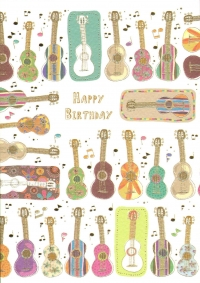 Greetings Card Birthday Guitars Bontempi Sparkle Gift