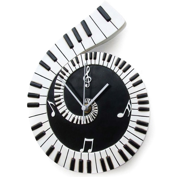 Wall Clock Piano Scroll Sparkle Gift