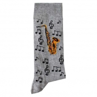 Socks Saxophone & Notes Grey Size 6-11 Sparkle Gift