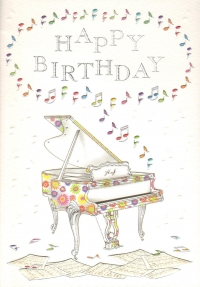 Greetings Card Birthday Piano Mac Classic Sparkle Gift