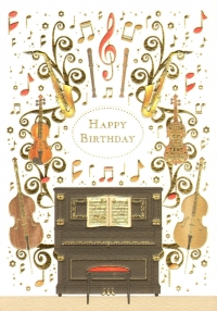 Greetings Card Birthday Piano & Insts Mac Classic Sparkle Gift