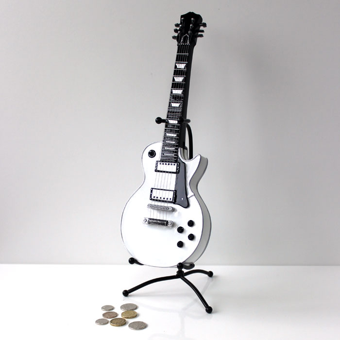 Money Box Vintage Guitar White                               Sparkle Gift