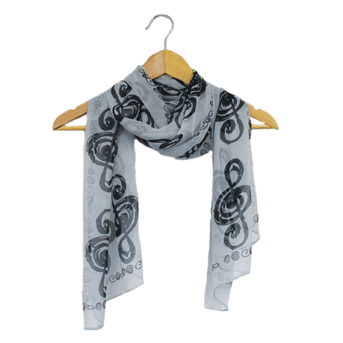 Scarf Music Note Design Black Sparkle Gift