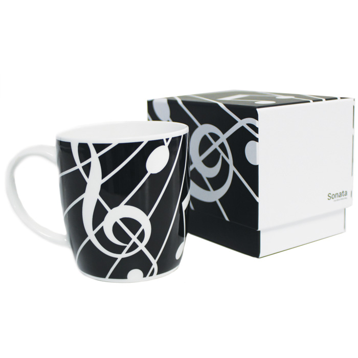 Bone China Boxed Mug Sonata Black Sparkle Gift