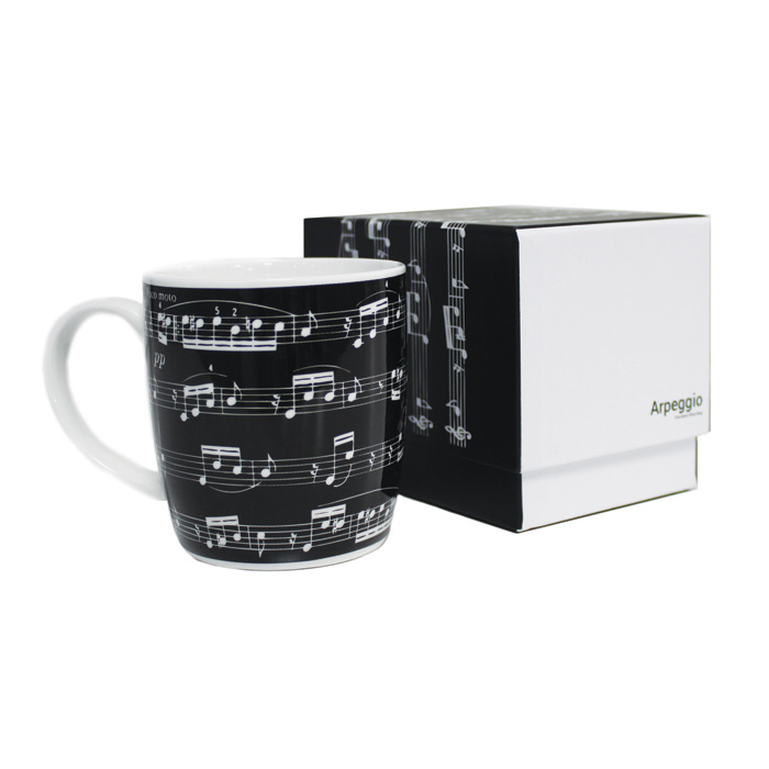 Bone China Boxed Mug Arpeggio Black Sparkle Gift