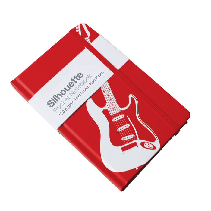A6 Pocket Notebook Electric Guitar Red Sparkle Gift