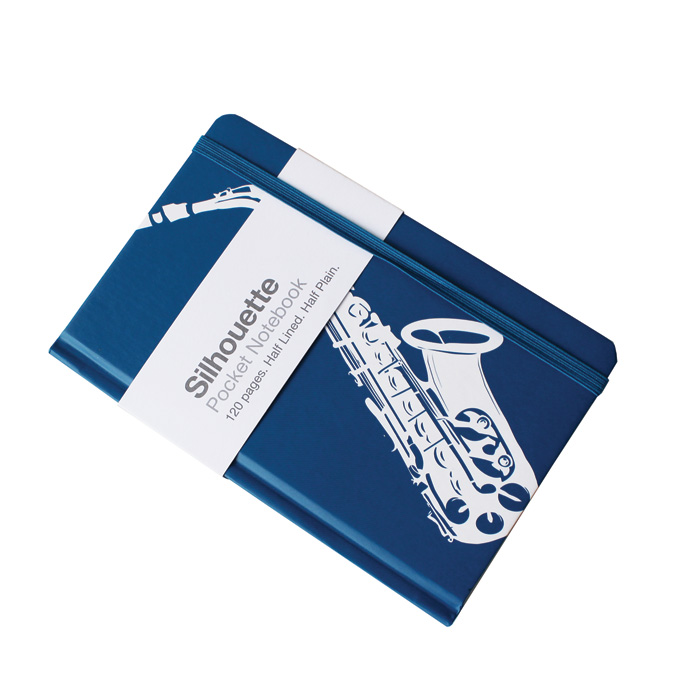 A6 Pocket Notebook Saxophone Blue Sparkle Gift