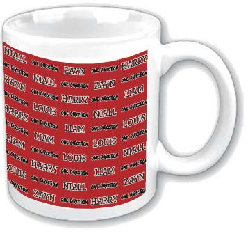 One Direction Boxed Mug Tiled Names Sparkle Gift