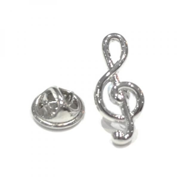 Pin Badge Treble Clef Silver Plated Sparkle Gift