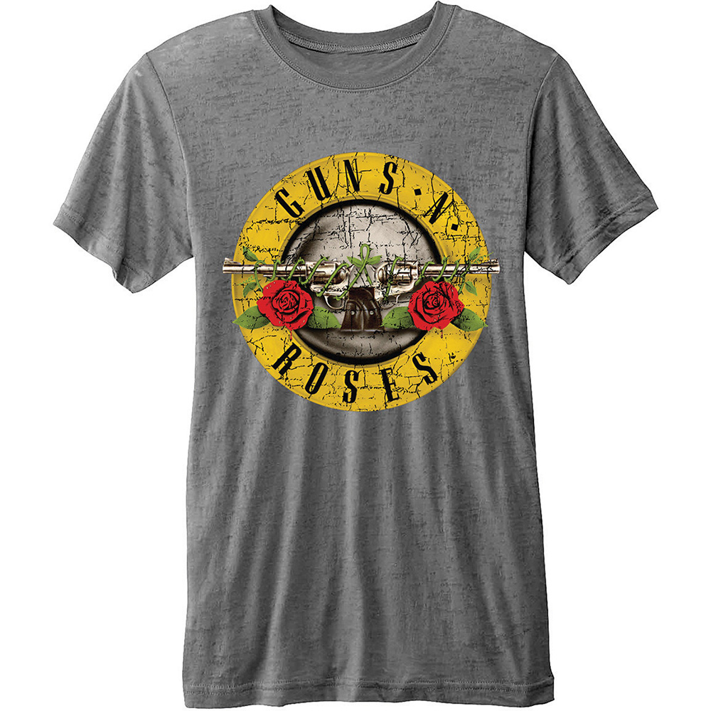 Guns N Roses T Shirt Burn-out Logo Mens Large Sparkle Gift