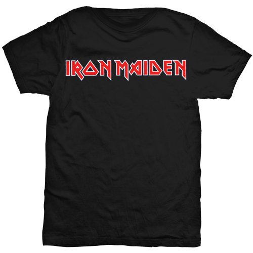 Iron Maiden T Shirt Logo On Black Mens Large Sparkle Gift