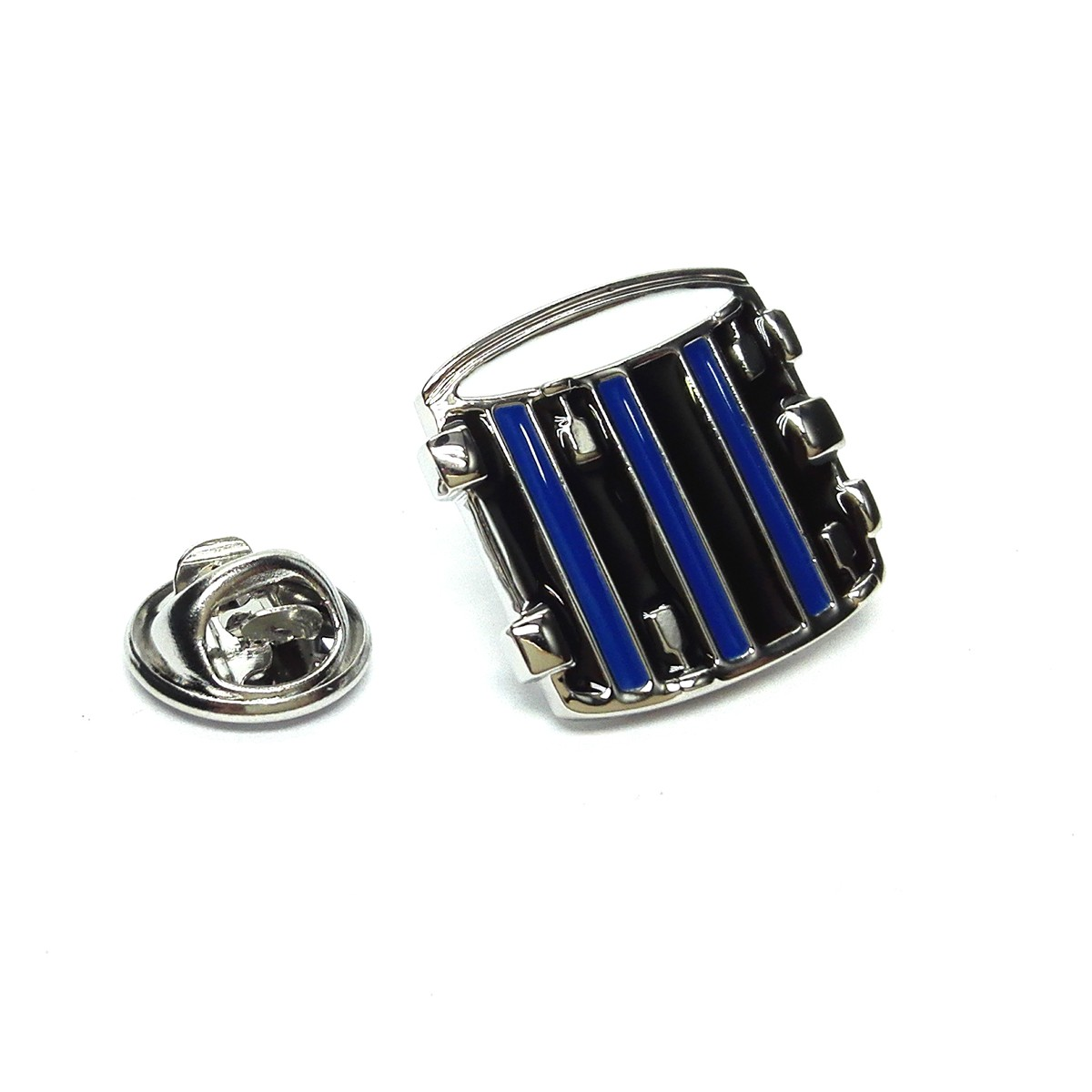 Pin Badge Drum Black & Blue Sparkle Gift