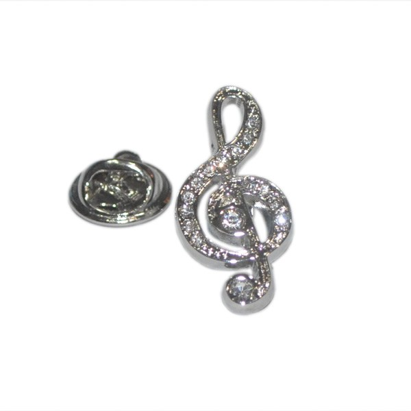 Pin Badge Treble Clef Crystal Encrusted Sparkle Gift
