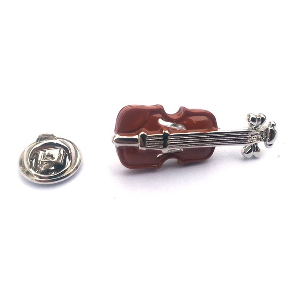 Pin Badge Violin Brown Sparkle Gift