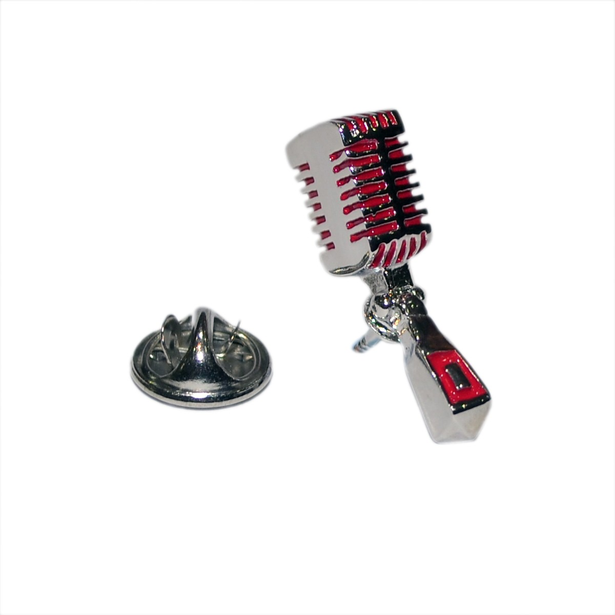 Pin Badge Retro Microphone Red & Silver Sparkle Gift